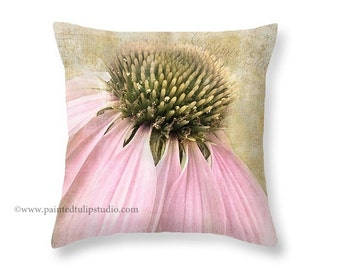 Shabby Cottage Decor, French Country Vintage Look Pastel Pink Coneflower Floral with French Script Pillow Fine Art Photography Home Decor