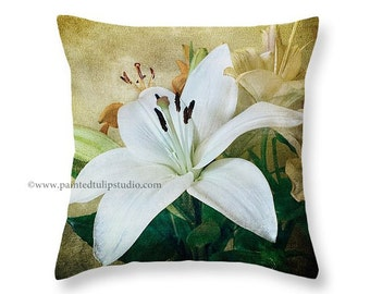 White Lily Floral Decorative Pillow Fine Art Photo Pillow Home Decor Rustic Elegance