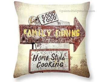 Kitchen Dining Breakfast Nook Decor Square Pillow Rustic Cottage Chic Vintage Shabby Look Fine Art Photography Home Decor