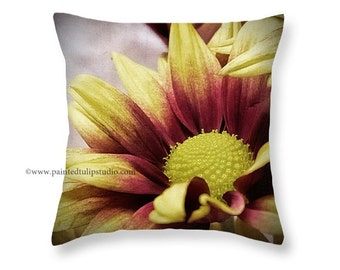 Square Pillow Home Decor Autumn Mums Floral Flower Red Yellow Chrysanthemum Macro