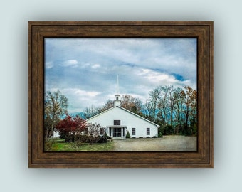 Small Town Little White Country Church Rural North Carolina Architecture Landscape Fine Art Photography Print or Gallery Wrap Canvas