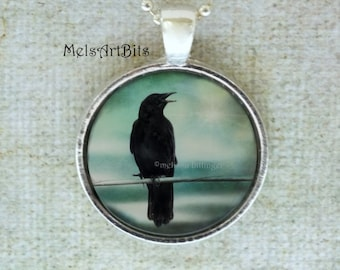 Raven Crow Surreal Magical Teal Blue Sky / Black Bird  Photo / Art Pendant Necklace / Photo Pendant Necklace Jewelry