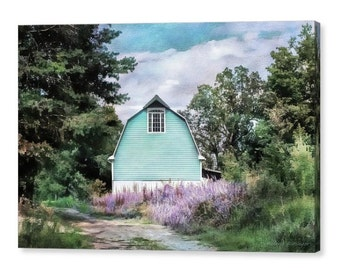 Whimsical Dreamy Aqua Blue Barn Landscape with Lavender Flowers Cottage Chic Feminine Rustic Photographic Art on Giclee Gallery Wrap Canvas