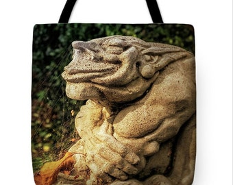 Cute Goth Gargoyle Halloween Canvas Tote Bag, Gothic Tote,Whimsical, Book Bag,Reusable Shopping Bag, Farmer's Market Tote bag