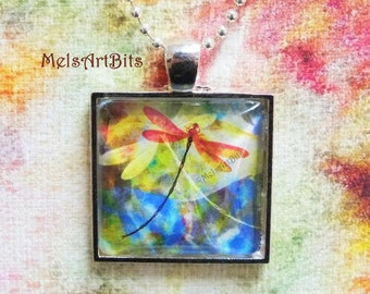 Abstract Dragonfly Dragonflies Art Pendant Necklace, Orange Blue Yellow Silver Base Necklace Jewelry