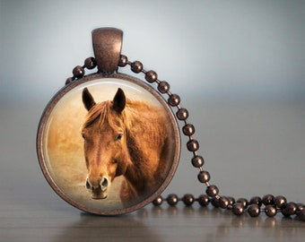 Chestnut Horse Photo Pendant Necklace Jewelry