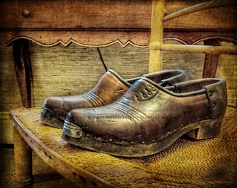 Antique Men's Shoes Still Life Vintage Style Men's Dressing Room Elegant Old World Fine Art Photography Print or Gallery Canvas Wrap Giclee