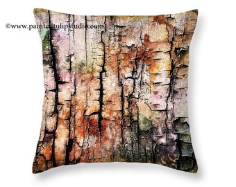 Artsy Rustic Modern Square Pillow Cover Abstract Burned Wood and Pastel Color Wash, Orange Pink Teal Black