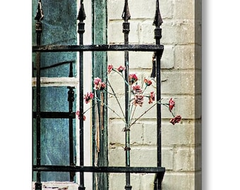 Cottage Chic Whimsical Architecture Blue Teal Window Wrought Iron Bars with Pink Flowers Photographic Art on Gallery Canvas Wrap Giclee