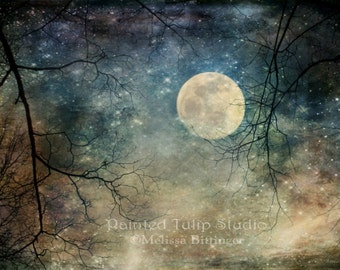 Surreal Landscape Sky Nighttime Moon Stars Tree Branches  Fantasy Woodland Magical Landscape Full Moon Fine Art Photography Print