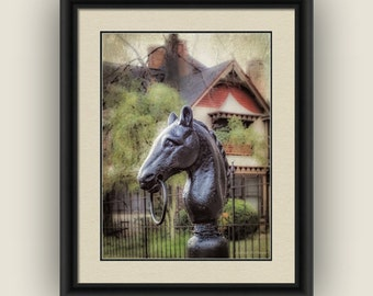 Nostalgic Horse Head Hitching Post Historic Downtown Statesville North Carolina, Landscape Architecture Fine Art Photography Print
