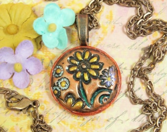 Boho Hippie Yellow Orange Daisy Flower Small Petite Pendant Necklace