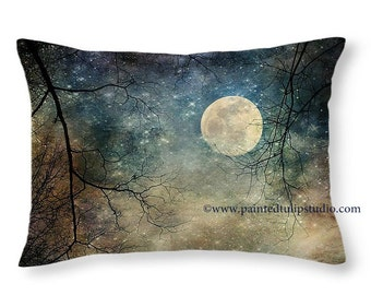 Moon Stars Surreal Evening Sky, Travel Pillow, Rectangle Pillow with Fine Art Photography Home Decor