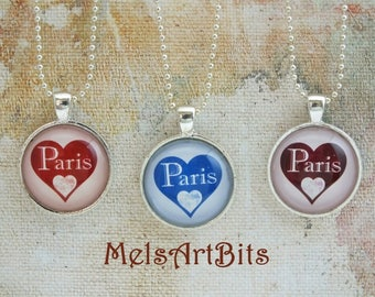 Red Heart Paris, Blue Heart Paris, Merlot Burgundy Heart Paris, I love Paris, I Heart Paris France, Pendant Necklace Charm Jewelry