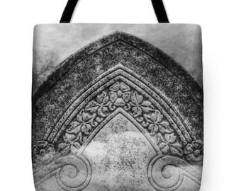 Victorian Gothic Romance Headstone Graveyard Canvas Tote Bag, Halloween, Goth Bag, Book Bag, Goth Girl Gifts, Farmer's Market Tote Bag
