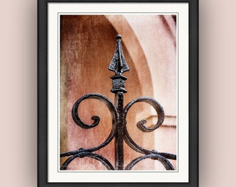 Wrought Iron Gate Post Old World Charm Victorian Architecture Black Coral Cottage Chic Decor Fine Art Photography Print
