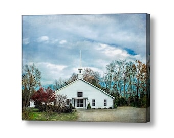 Little White Country Church Architecture Landscape Quaint Rural Countryside North Carolina Fine Art Photography Gallery Canvas Wrap Giclee