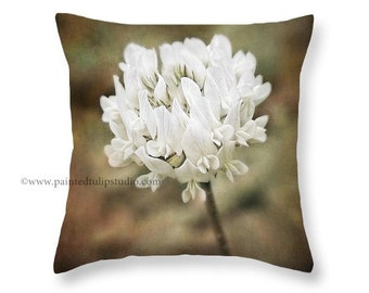 White Clover Botanical Rustic Woodland Nature Square Pillow Fine Art Photography Home Decor
