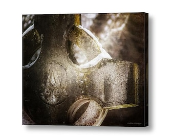Irish Celtic Cross Snow Winter Cemetery Gothic Pagan Surreal Haunting Sepia Monochrome Fine Art Photography on Giclee Gallery Wrap Canvas