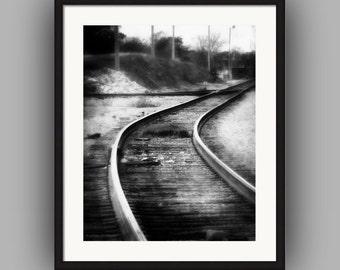 Train Tracks Railroad Tracks Switchyard Black and White Urban Industrial Landscape Dark Surreal Fine Art Photography Print