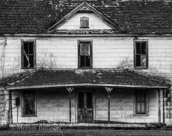 Spooky Old Rundown Farmhouse Country Rural Abandoned Home Black and White Fine Art Photography Print or Gallery Canvas Wrap Giclee