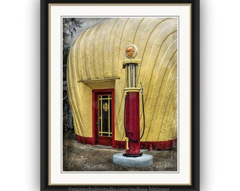 Vintage Shell Filling Station, Historic Landmark Winston-Salem NC, Architecture Fine Art Photography Print or Gallery Canvas Wrap Giclee