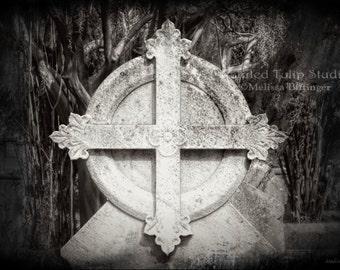 Haunting Century Old Cemetery Cross Fleur de Lis Headstone Gravesite Graveyard Mortuary Art Black and White Fine Art Photography Print