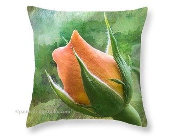 Bright Floral Flower Rosebud Bloom Peach Coral Orange Green, Fresh Spring Summer Garden Decor Square Pillow Fine Art Photography Home Decor