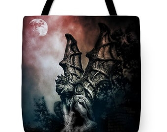 Goth Gargoyle Halloween Canvas Tote Bag, Gothic Tote,Dark Spooky Gothic Gargoyle, Book Bag,Reusable Shopping Bag, Farmer's Market Tote bag
