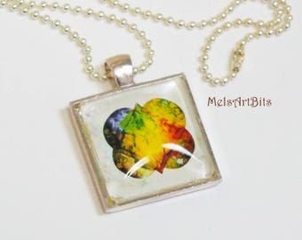 Abstract Modern Double Heart Tie Dye Boho Chic with Bright Colors Pendant Necklace