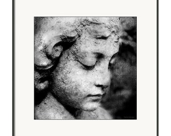 Black & White Angel Statuary Memoriam Cemetery Child Angel Square Print Fine Art Photography Print or Gallery Canvas Wrap Giclee