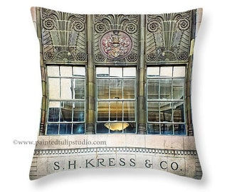 Architecture Window Reflection Kress Building Downtown Greensboro NC Square Pillow Fine Art Photography Home Decor