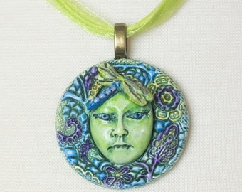 Dragonfly Green Woman Gaia Goddess Mother Nature OOAK Pendant Necklace  Clay Jewelry