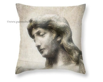 Angel Statue Inspiration Faith Christianity, Angel Blessings, Square Accent Pillow Fine Art Photography Home Decor
