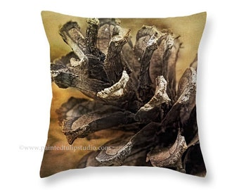 Nature Woodland Pinecone Fall Autumn Rustic Country Cabin Square Pillow Fine Art Photography Home Decor