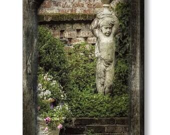 French Quarter Charleston SC Victorian Garden Statue Flowers Ivy Garden Wall Fine Art Photography on Gallery Canvas Wrap Giclee