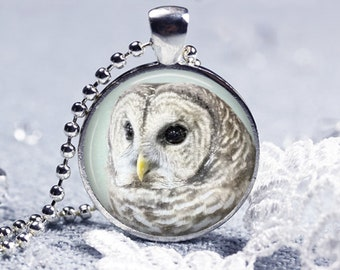 Winter's Owl Pendant Necklace