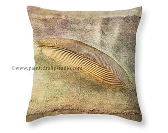 Feather Art Tranquil Zen Meditation Dreamy Peaceful, Large Size available, Square Decorative Accent Pillow Fine Art Photography Home Decor
