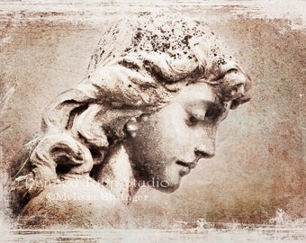 Serene Peaceful Guardian Angel Cemetery Angel Statue Sepia Fine Art Photography Print or Gallery Canvas Wrap Giclee