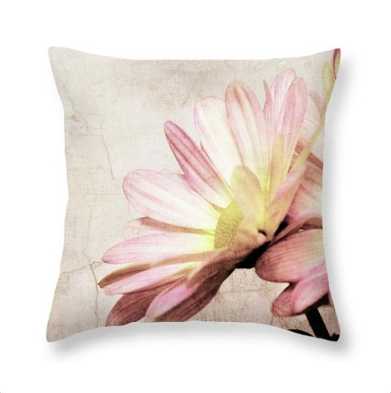 Shabby Cottage Square Throw Pillow Pink Daisy Distressed Antique Look Feminine Romantic Rustic Elegance Home Decor
