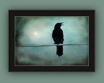 Goth Gothic Raven Crow Surreal Landscape Twilight Raven Black Bird Magic In The Air Teal Blue Black, Fine Art Print or Gallery Wrap Canvas