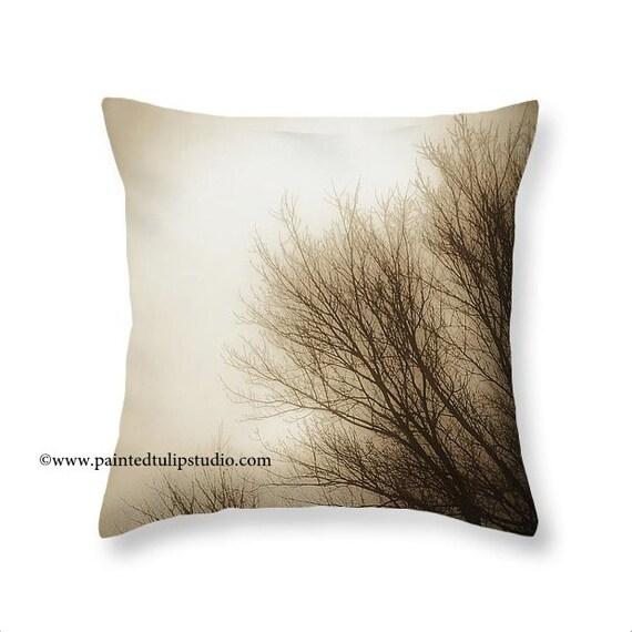 Square Pillow Fine Art Photography Nature Woodland Monochromatic Sepia Tree Branches Foggy Morning Sepia Cream Home Decor