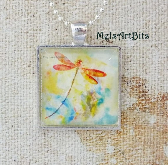 Pastel Colors Abstract Dragonfly Pendant Charm Necklace, Orange Blue Yellow and White Silver, Spring Summer Pendant Necklace