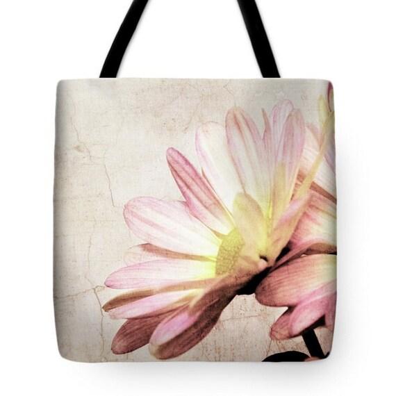 Cottage Chic Distressed Pink Daisy Canvas Tote Bag, Beach Bag, Book Bag, School Bag, Reusable Shopping Bag, Farmer's Market Tote bag