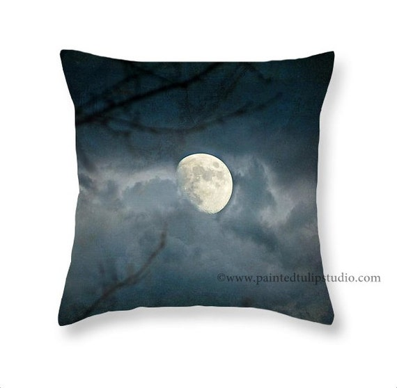 Moon Rising Foggy Night Dark Sky Mystical Magical Surreal Gothic Romance Square Accent Pillow Fine Art Photography Home Decor
