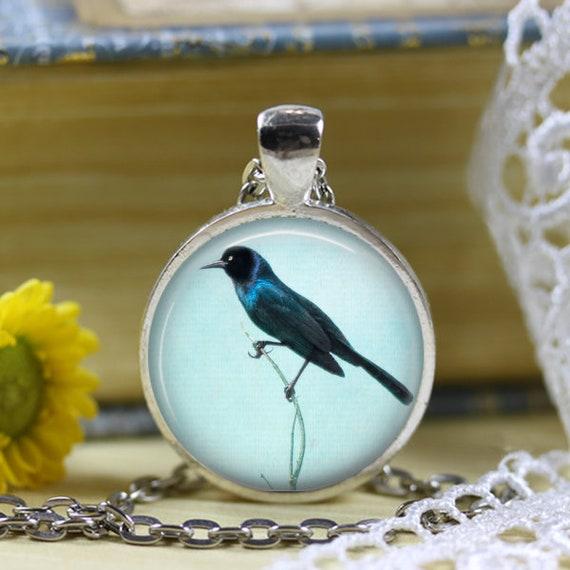 Blackbird Blue Sky Photo Pendant Necklace Jewelry