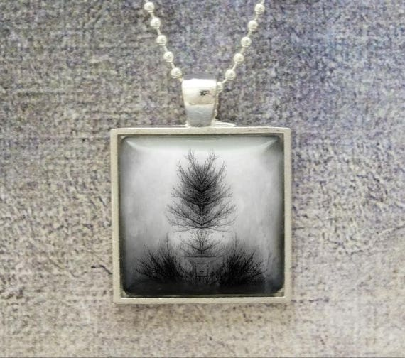 Surreal Spiritual Tree Branch of Life Inkblot Rorschach Mirror Image Black and White Silver, Digital Photo Art Pendant Necklace