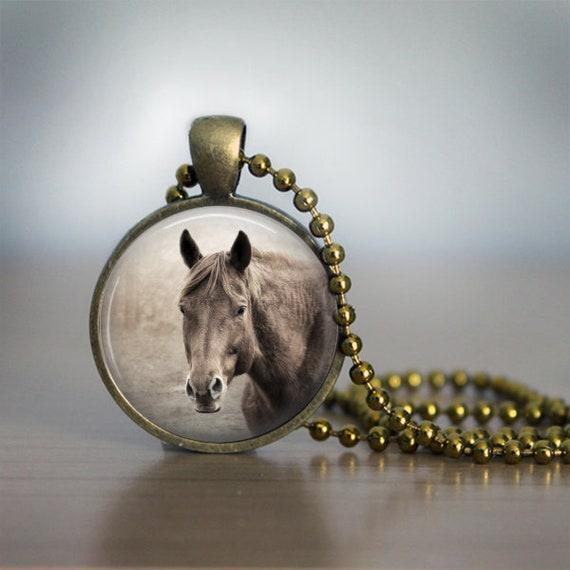 Chestnut Horse Photo Pendant Necklace Jewelry