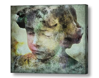 Surreal Dreamlike Angel 'Eternal Sleep'  Cemetery Guardian Angel  Child Statue Fine Art Print or Gallery Wrap Canvas Giclee