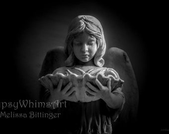 Black and White Angel, Bonaventure Cemetery Savannah Georgia, Religious Angel Wall Prints, Grief Death Mourning, Fine Art Print or Canvas